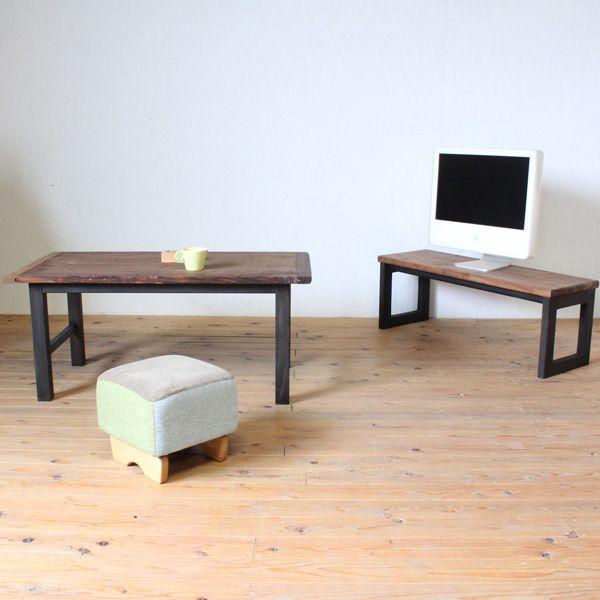 古材天板のコーヒーテーブルと古材風天板のテレビボード