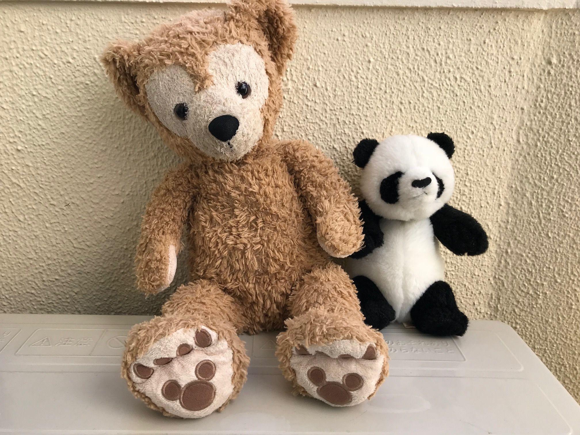 ちょっぴりくたびれているダッフィーとパンダ