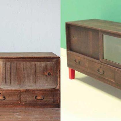 和タンス上段をそのまま生かしてテレビボードへとリメイク 家具リメイク事例:R035 Before&After