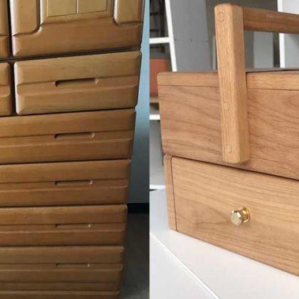 婚礼タンスの部材を使用して裁縫道具のお針箱へとリメイク 家具リメイク事例:R048 Before&After