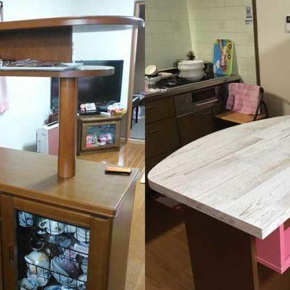 キッチンボードをテーブルとしても使いやすいようリメイク 家具リメイク事例:R050 Before&After