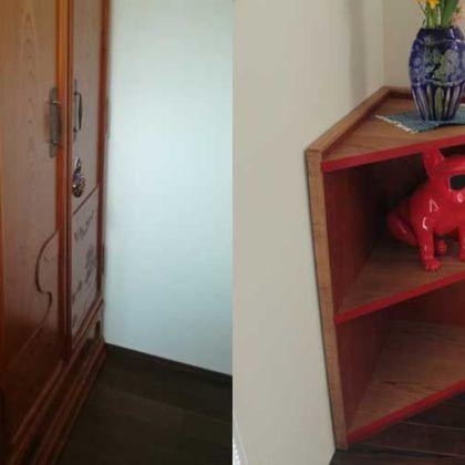 欅の婚礼タンスの側板を生かしコーナーシェルフにリメイク 家具リメイク事例:R057 Before&After