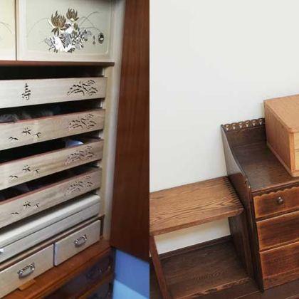 婚礼タンスの桐の引き出しを生かし卓上小物入れにリメイク 家具リメイク事例:R058 Before&After