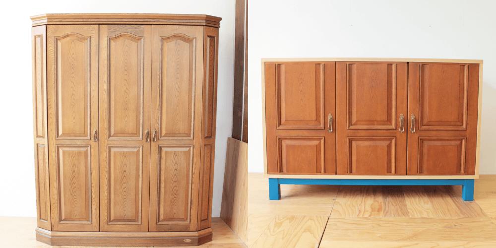 婚礼タンスの扉を生かし青い脚がポイントのキャビネットに 家具リメイク事例:R175 Before&After