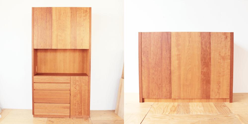 キッチンボードを収納力たっぷりな本棚に 家具リメイク事例:R187 Before&After