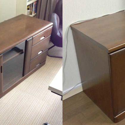 木製&ガラス扉ローボードセットをそのまま小さくリサイズ 家具リメイク事例:R011 Before&After