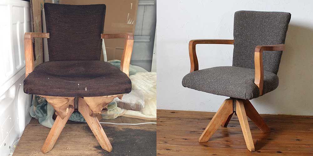 レトロでお洒落な木製アーム付のドクターチェアをレストア 家具リメイク事例:R024 Before&After