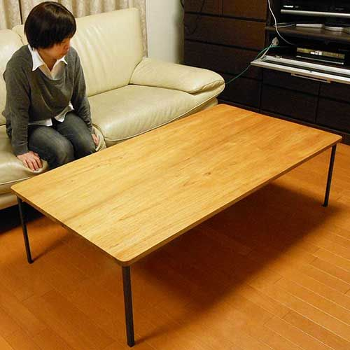 アジアン家具のローテーブルから黒皮アイアン脚のローテーブルへのリメイク(完成品)