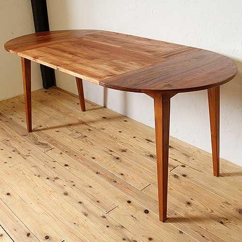 リメイクで天板をサイズアップした無垢楕円形テーブル