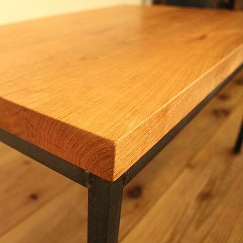 無垢材天板をリメイクして黒皮アイアン脚のローテーブルに