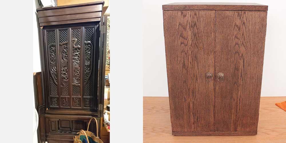 台付き大型タイプのお仏壇を卓上サイズのお仏壇にリメイク 家具リメイク事例:R051 Before&After
