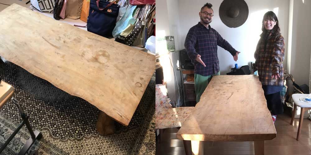 トチの木無垢一枚板の座卓をダイニングテーブルにリメイク 家具リメイク事例:R053 Before&After