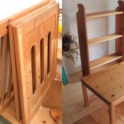 ベビーベッドをオープンシェルフとローテーブルにリメイク 家具リメイク事例:R064 Before&After