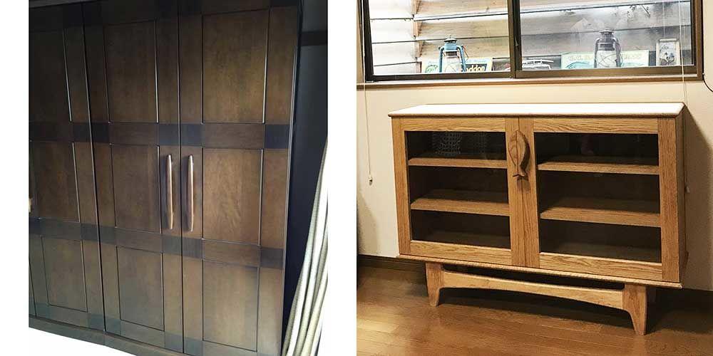 婚礼タンスをお魚取っ手の脚付きリビングボードにリメイク 家具リメイク事例:R066 Before&After