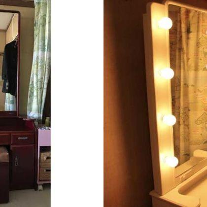 婚礼家具の鏡台を真っ白なハリウッドミラー風ドレッサーにリメイク 家具リメイク事例:R067 Before&After