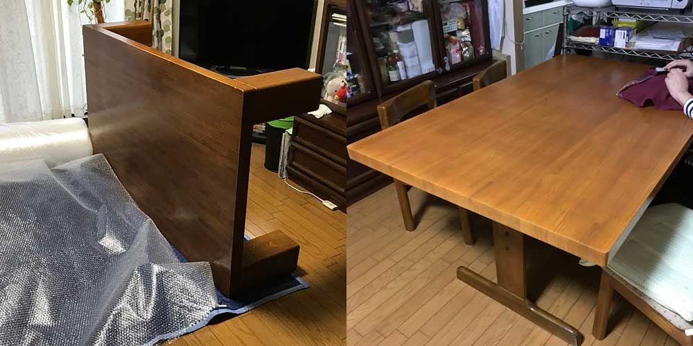 重いローテーブルを軽やかなダイニングテーブルにリメイク 家具リメイク事例:R072 Before&After