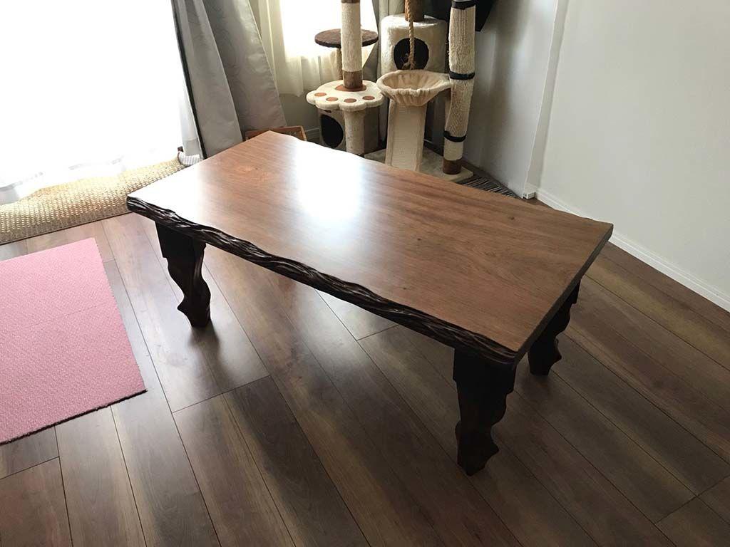 リメイクした無垢一枚板リビングテーブルの納品、設置