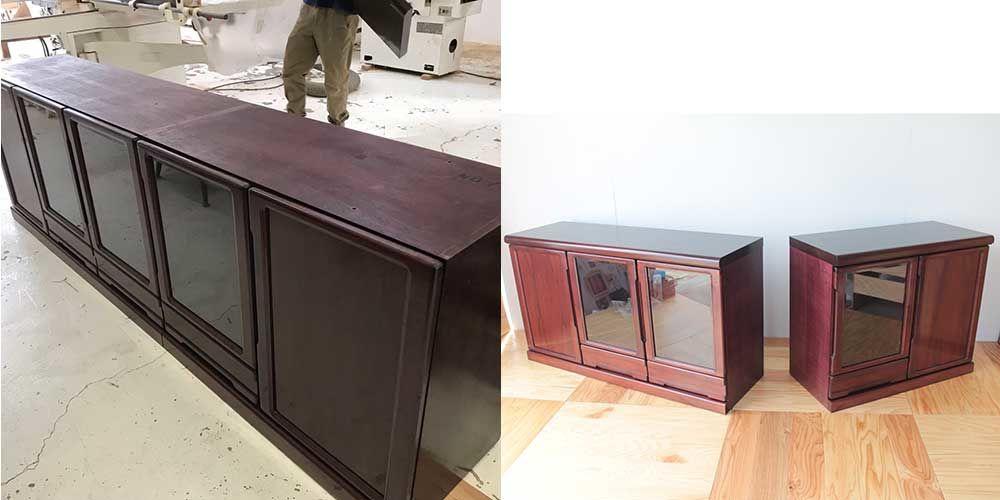 大きなリビングボードを別々の場所で使えるよう2つに分割リメイク 家具リメイク事例:R077 Before&After