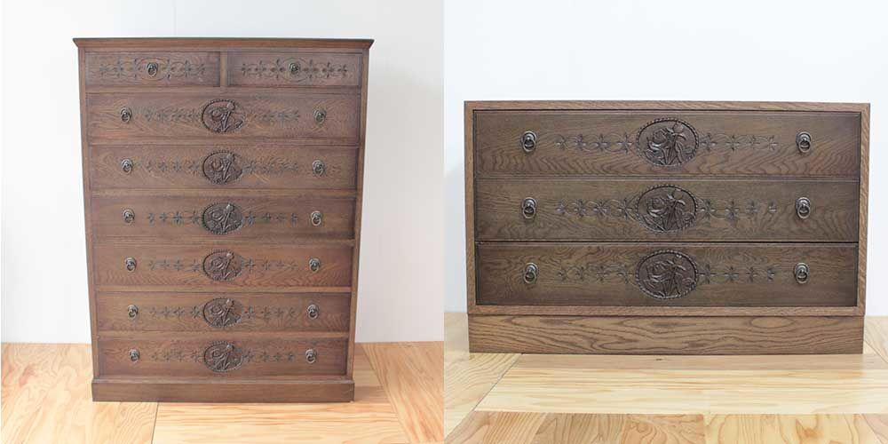 手彫りの彫刻が施されたタンスからサイドボードにリメイク 家具リメイク事例:R078 Before&After