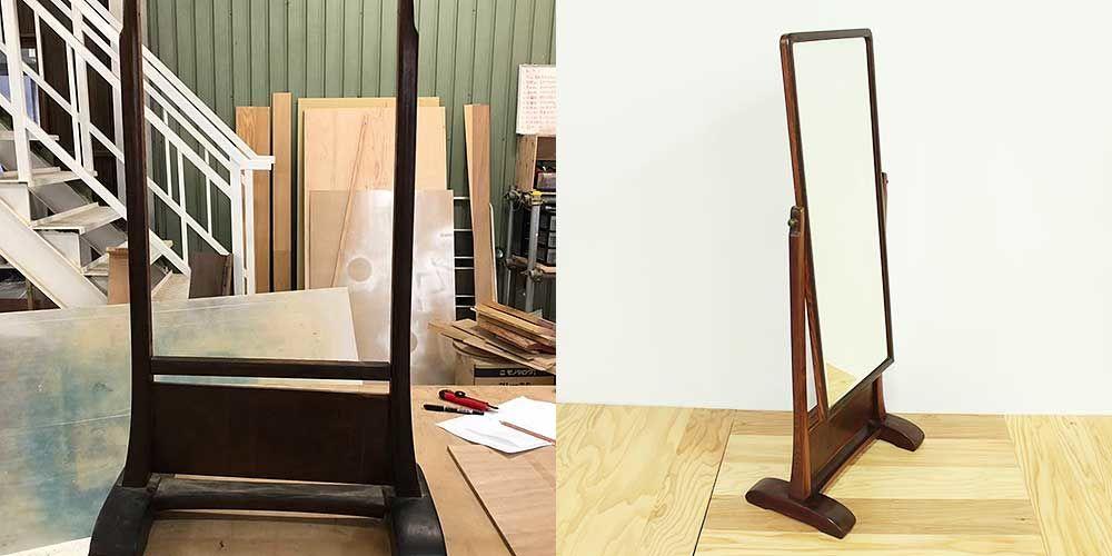 年月を経た味わいは残しつつ年代物の姿見を綺麗にレストア 家具リメイク事例:R090 Before&After