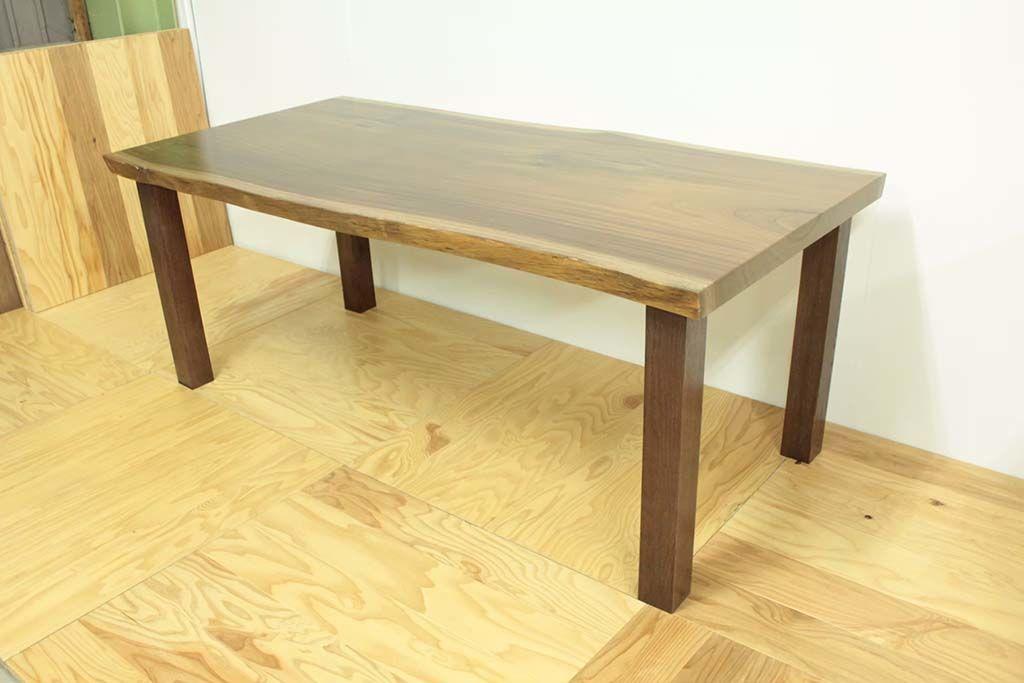 リメイクした無垢一枚板ダイニングテーブルの全体像