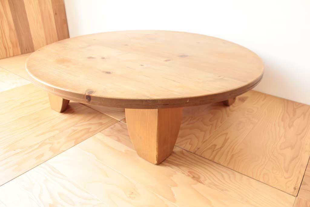 円形ローテーブルの脚を変え、ダイニングテーブルにリメイク(before)