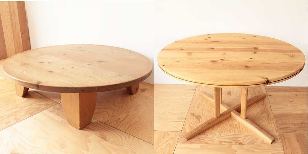 円形ローテーブルの脚を変えダイニングテーブルにリメイク 家具リメイク事例:R094 Before&After