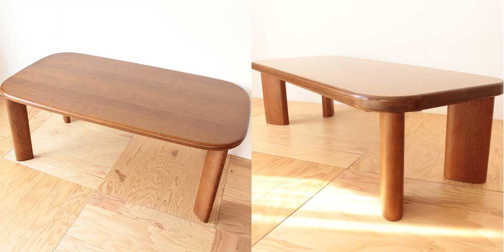 元のイメージは保ったままでダイニングテーブルを小さくリサイズ 家具リメイク事例:R095 Before&After