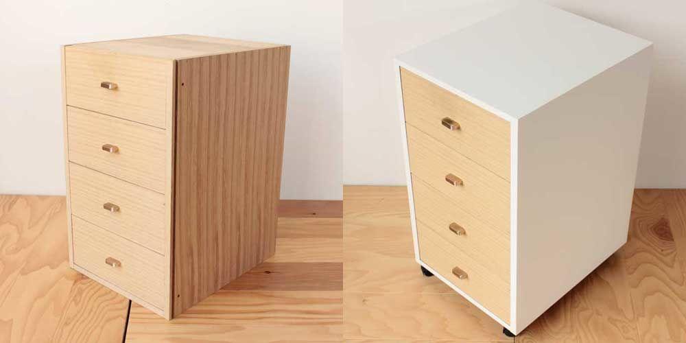 府中婚礼タンスの桐引き出しをデスクインワゴンにリメイク 家具リメイク事例:R097 Before&After