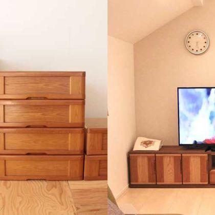 引き出しや扉を生かし、婚礼タンスをテレビボードにリメイク 家具リメイク事例:R098 Before&After