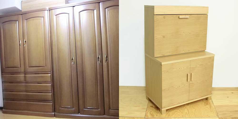 無垢材使用の婚礼家具をライティングビューローに 家具リメイク事例:R100 Before&After