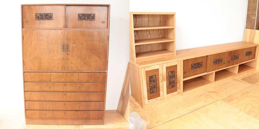 民芸調婚礼タンスの戸をいかしてリビングボードに 家具リメイク事例:R104 Before&After