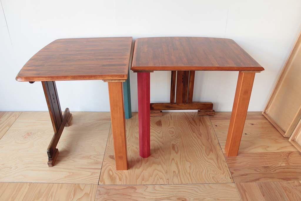 リメイクした2台のテーブルをL字型に配置