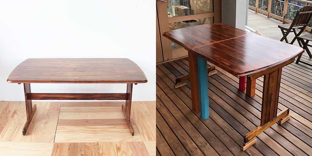 ダイニングテーブルをユニークな2台のデスクへ 家具リメイク事例:R105 Before&After