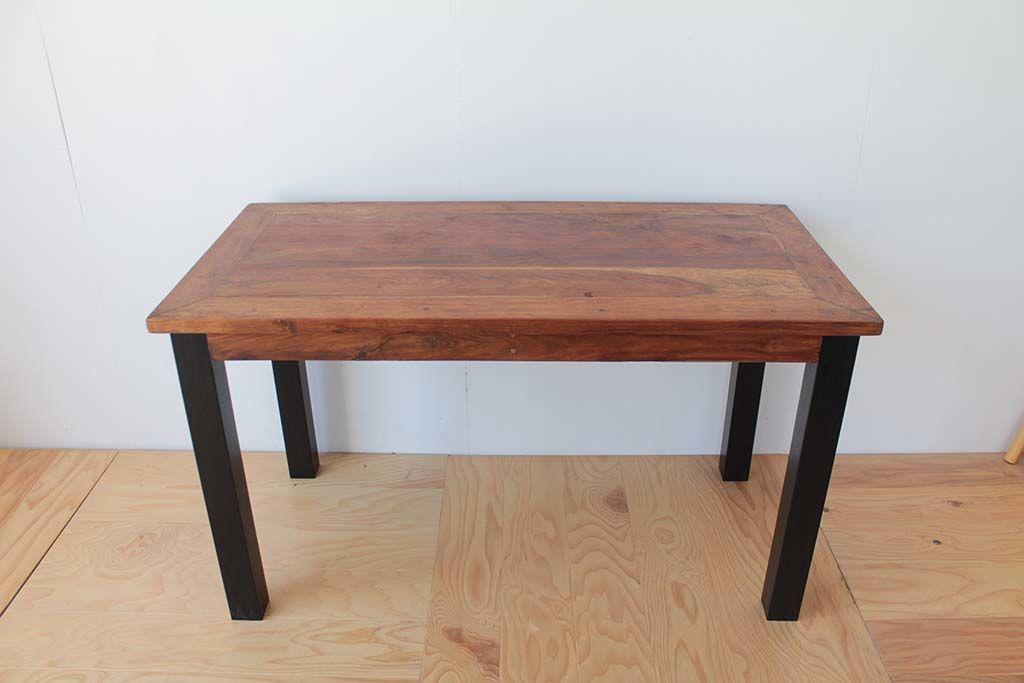 エキゾチックなアジアンスタイルの無垢チークローテーブルをダイニングテーブルにリメイク(after)