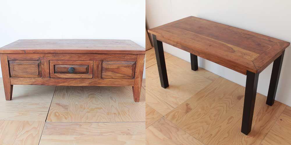 無垢チークのローテーブルをダイニングテーブルに 家具リメイク事例:R110 Before&After
