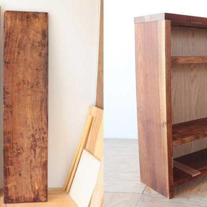 無垢一枚板の和裁作業板を3段オープンシェルフに 家具リメイク事例:R111 Before&After
