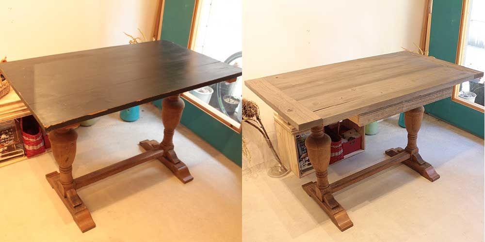 アンティークテーブルの天板をバーンウッドのダイニングテーブルに 家具リメイク事例:R115 Before&After