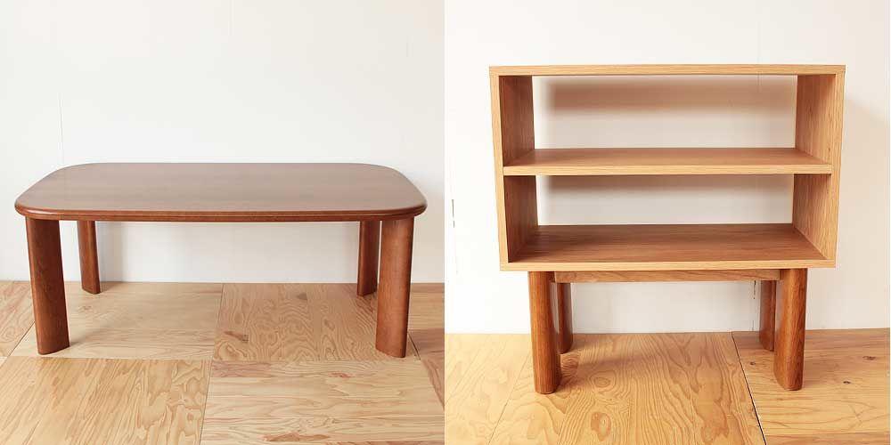 ダイニングテーブルの脚を生かしたキッチンシェルフ 家具リメイク事例:R117 Before&After