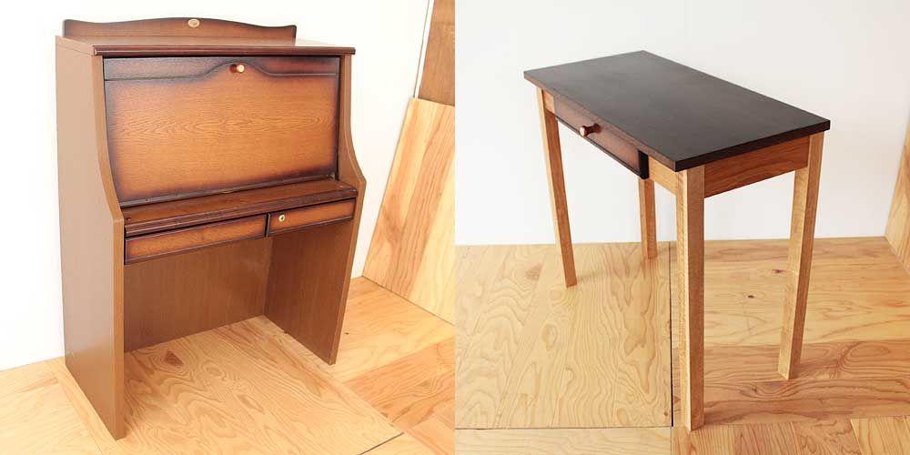 英国調ライティングビューローをフラットデスクへ 家具リメイク事例:R119 Before&After