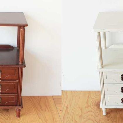 アンティークの魅力を生かしながら電話台を再塗装 家具リメイク事例:R122 Before&After