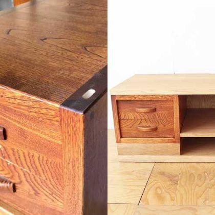 高さの違う小引き出しを組み合わせテレビボードに 家具リメイク事例:R126 Before&After