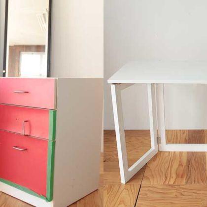 片袖学習机の引き出しカラーを変更し折り畳み式に 家具リメイク事例:R136 Before&After