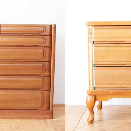 婚礼タンスをネコ脚付き3段引出しキャビネットに 家具リメイク事例:R145 Before&After