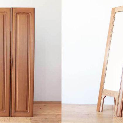 婚礼タンスの鏡付き扉を生かしてスタンドミラーに 家具リメイク事例:R147 Before&After