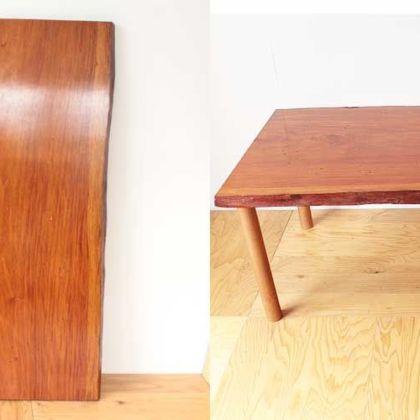 耳付き無垢一枚板の座卓天板を生かしダイニングテーブルに 家具リメイク事例:R150 Before&After