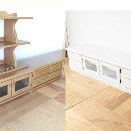 ナチュラルカラーのテレビボードをホワイト塗装に 家具リメイク事例:R158 Before&After