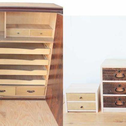 和タンスの引き出しを生かして3つの小引き出しに 家具リメイク事例:R160 Before&After