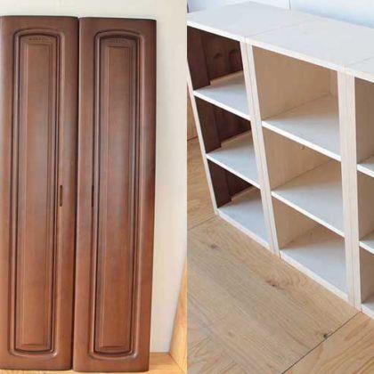 婚礼家具のクローゼット扉2枚を側板にして本棚に 家具リメイク事例:R161 Before&After