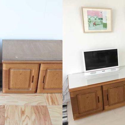 婚礼家具の開き戸収納をリメイクして出来たテレビボード 家具リメイク事例:R193 Before&After